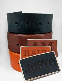 Cinturón + Hebilla Cuero Personalizada Nombre