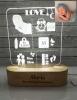 Lámpara placa de nacimiento personalizada.