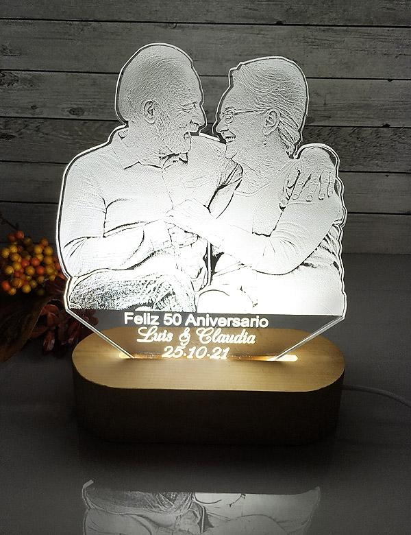 Lampara led foto personalizada luz blanca.