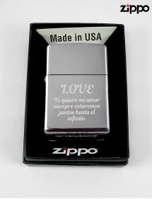 Zippo personalizado metálico texto.