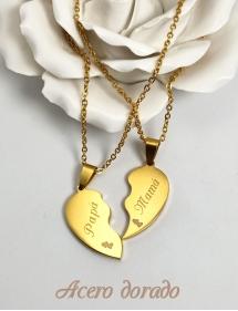 colgante corazón acero dorado personalizado