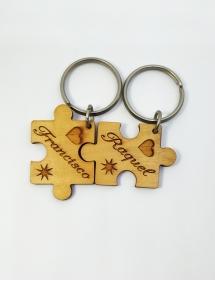 llavero madera puzle
