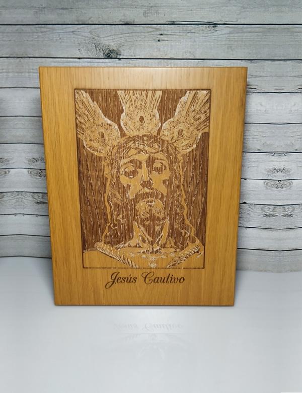 placa de madera personalizada imagen y texto.