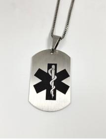 colgante alerta sanitaria grabado acero